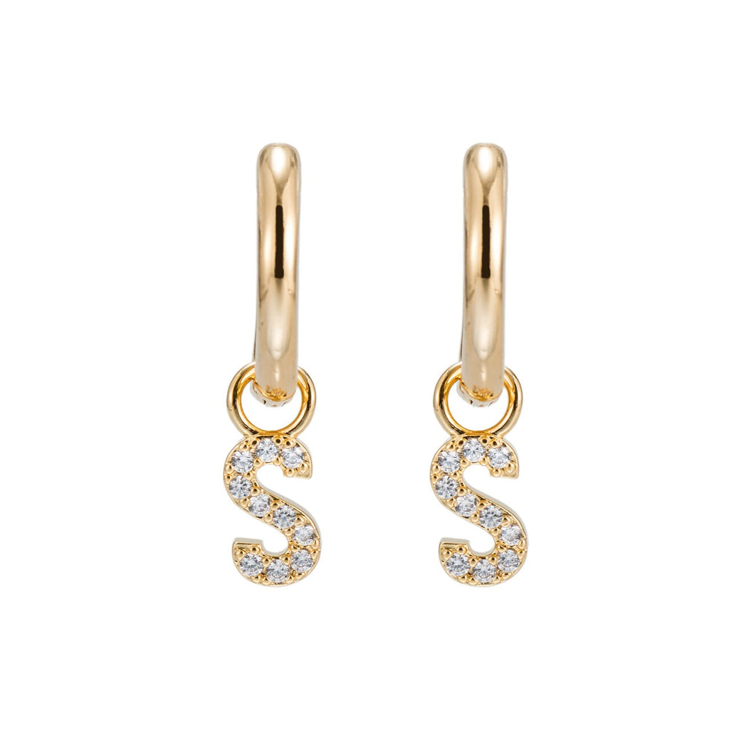 Gold Plated Dangly S Initial CZ Earrings