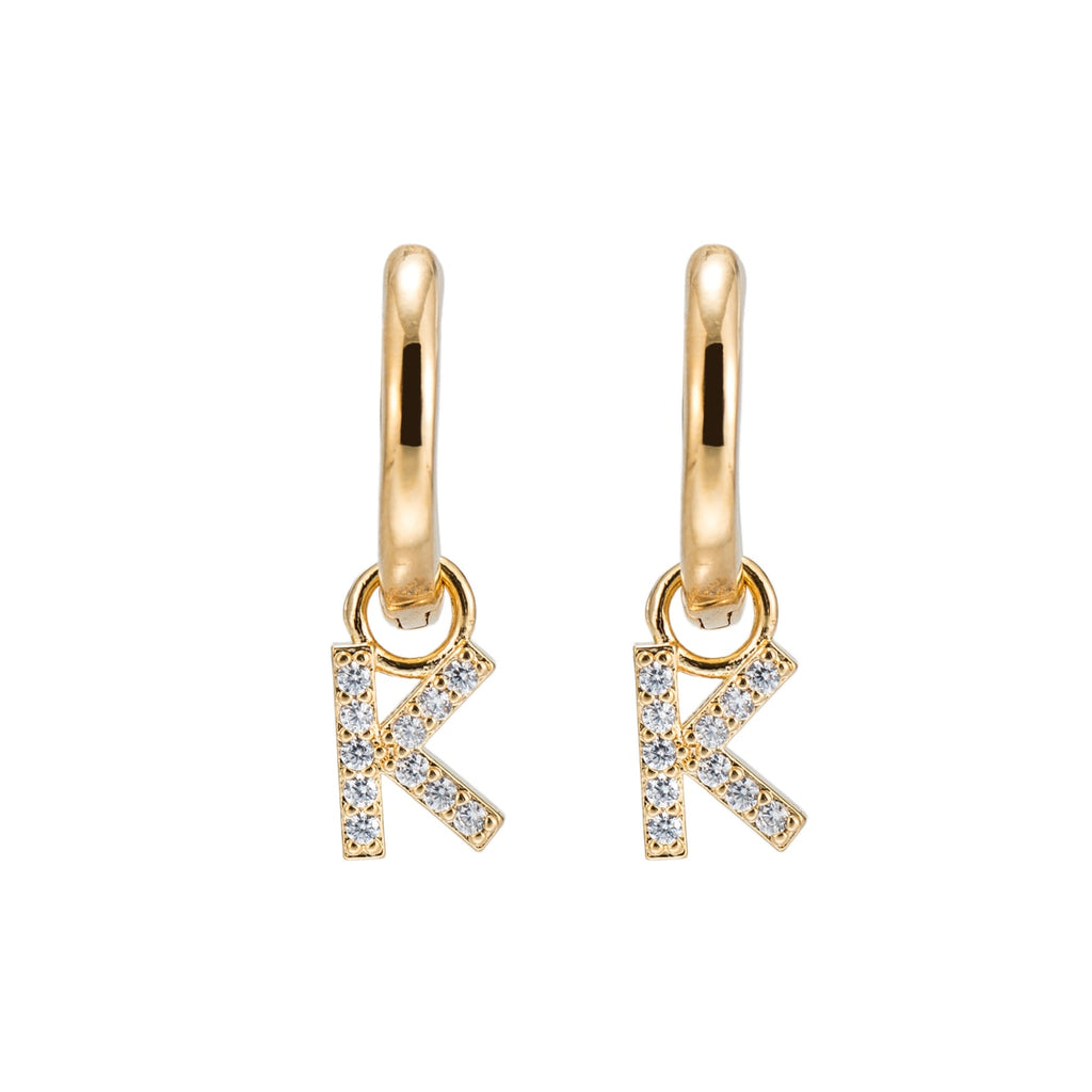 Gold Plated Dangly K Initial CZ Earrings