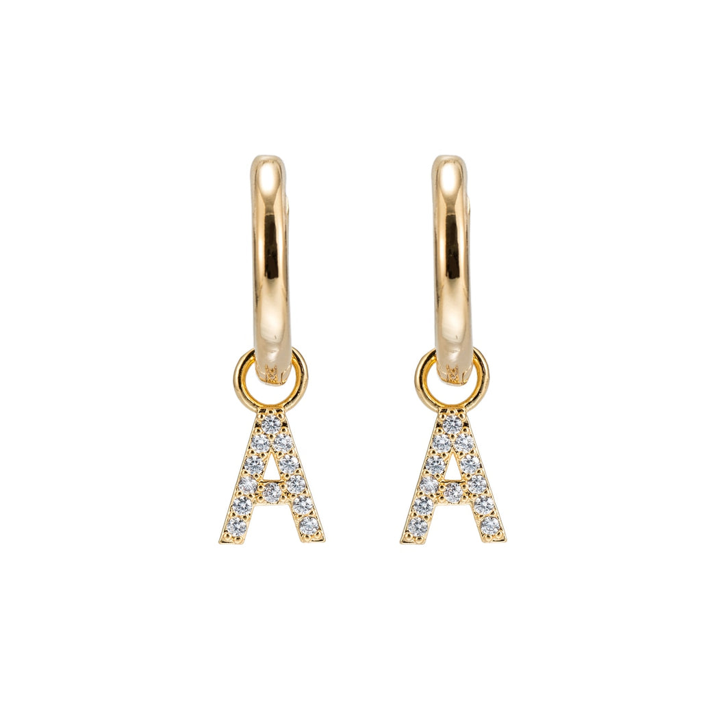 Gold Plated Dangly A Initial CZ Earrings