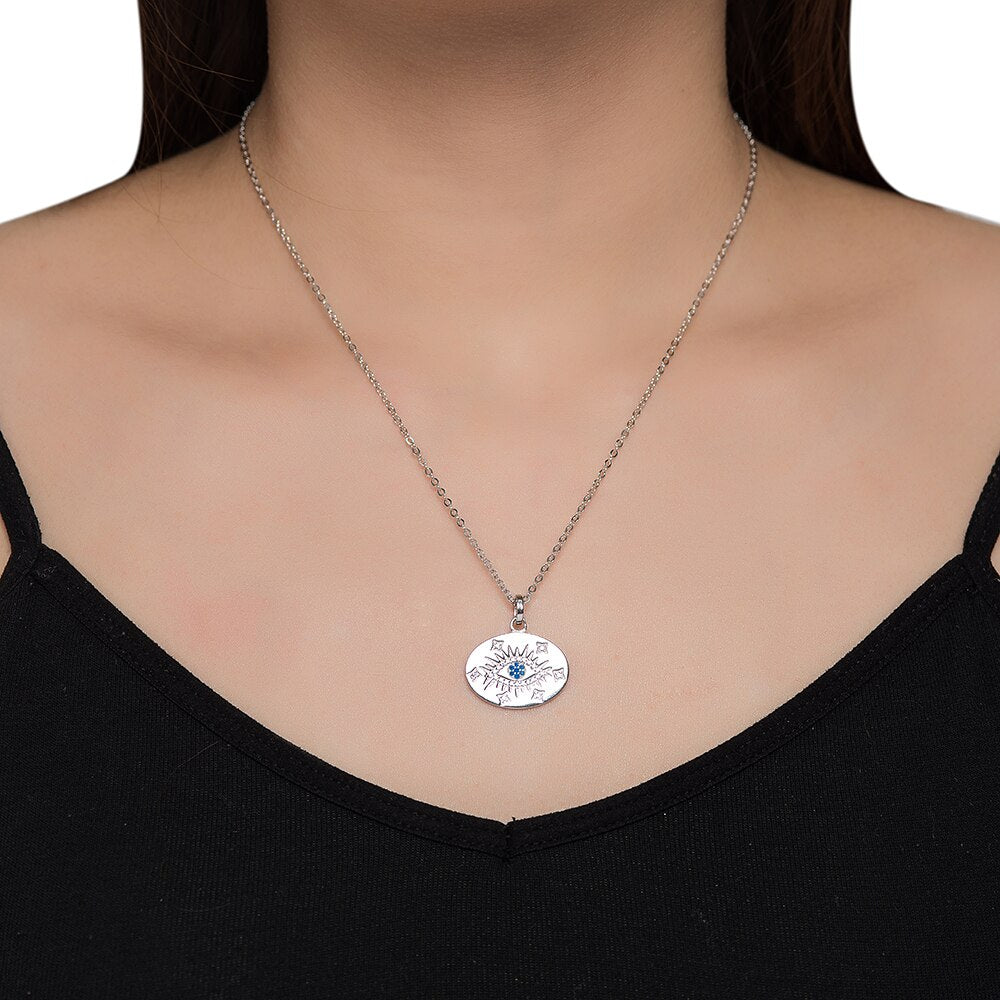 Sterling Silver Evil Eye Disc Necklace
