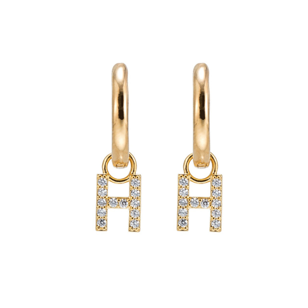 Gold Plated Dangly H Initial CZ Earrings