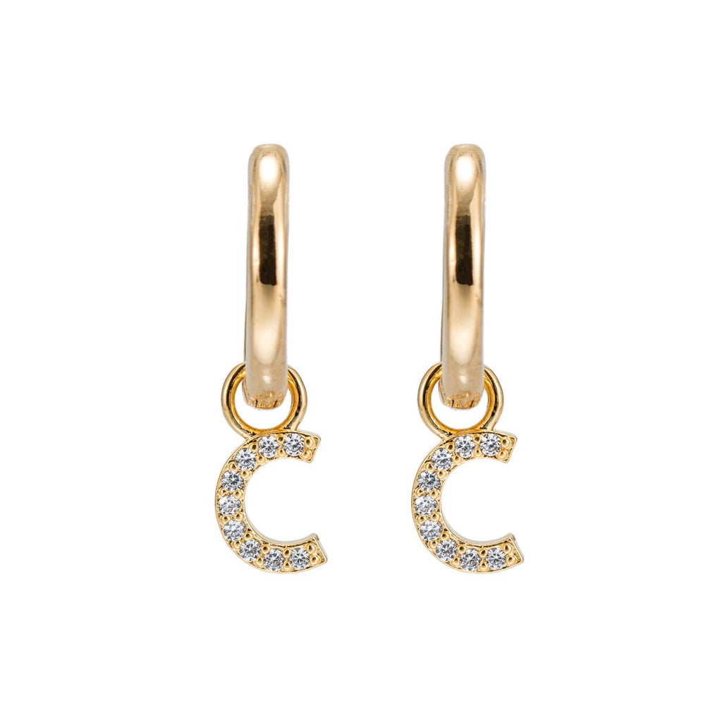 Gold Plated Dangly C Initial CZ Earrings