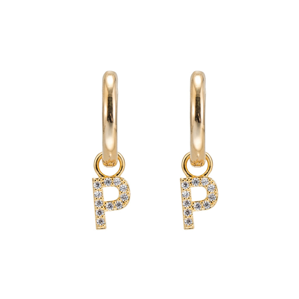 Gold Plated Dangly P Initial CZ Earrings