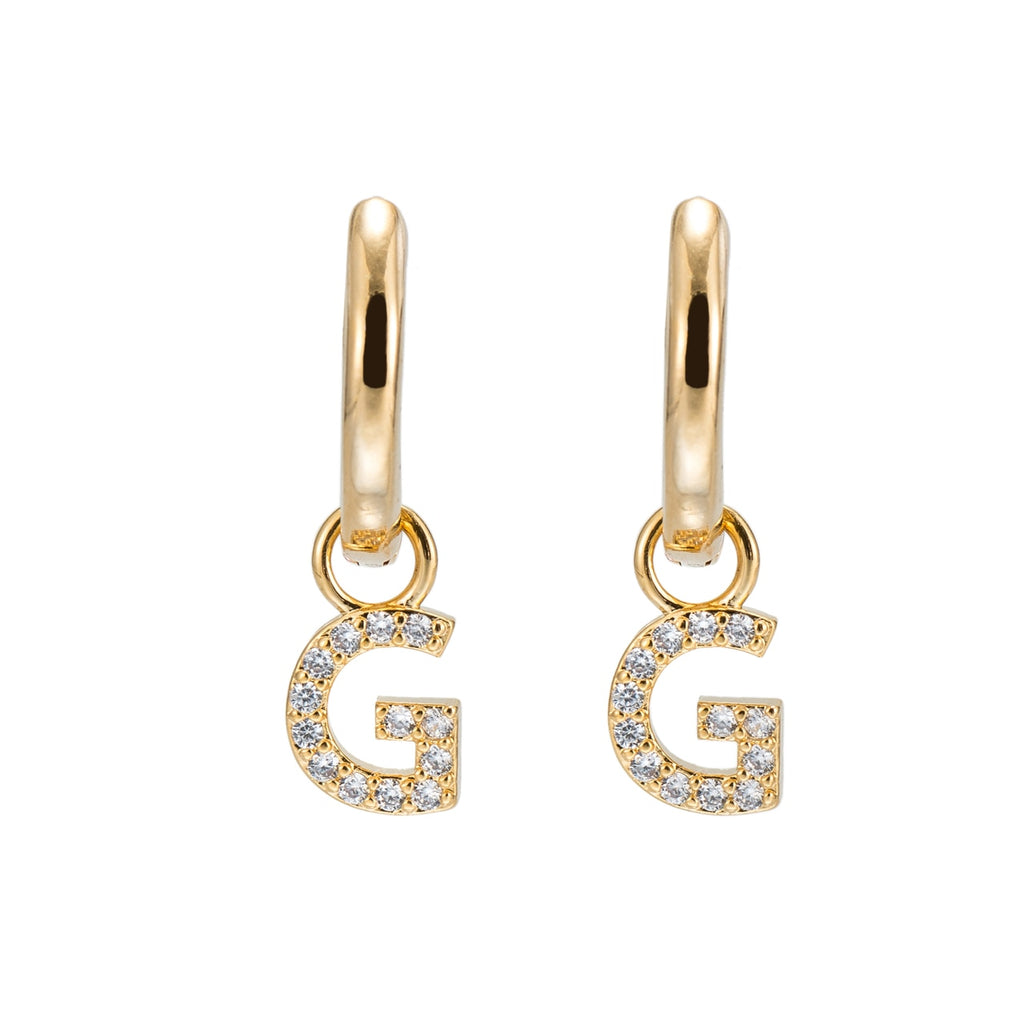 Gold Plated Dangly G Initial CZ Earrings