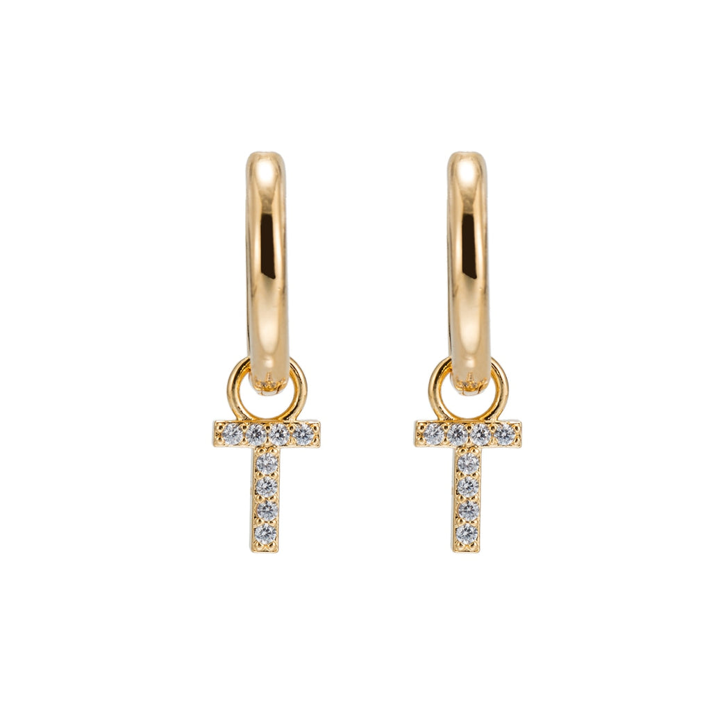 Gold Plated Dangly T Initial CZ Earrings