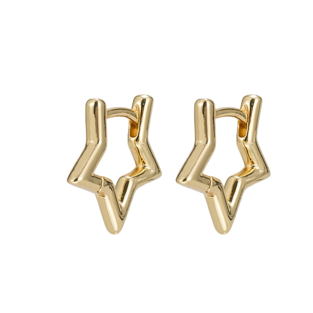 Gold Plated Star Plain Hoop Earrings