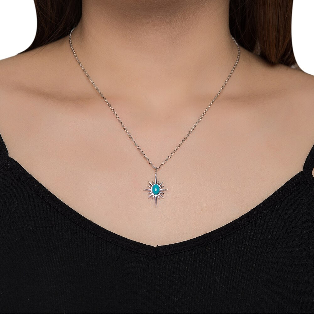 Sterling Silver Turquoise North Star Necklace