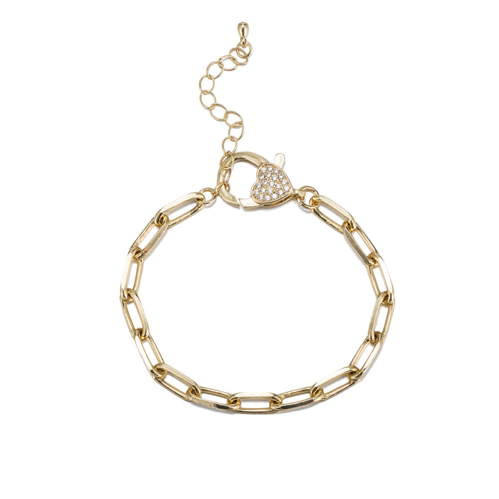Stainless Steel Cable Chain Bracelet with CZ Clasp
