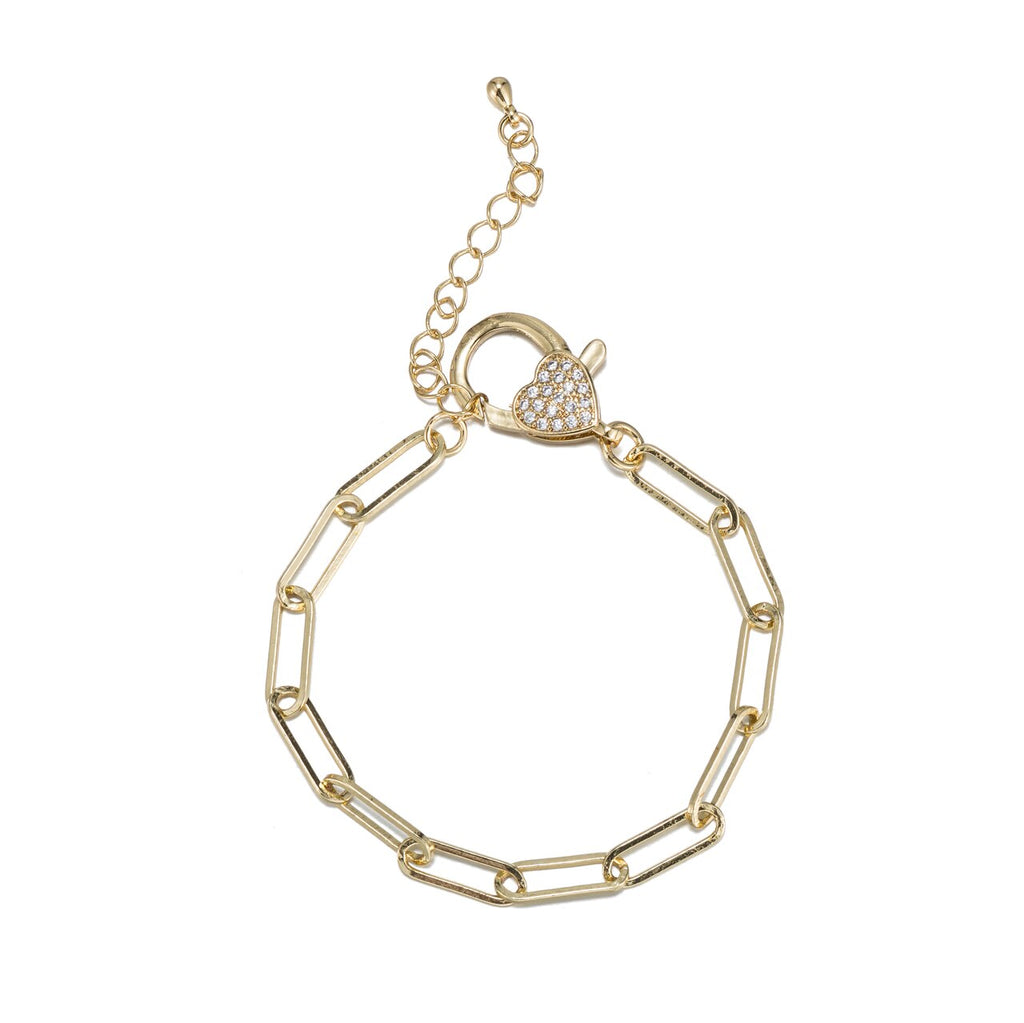 Stainless Steel Oval Paperclip Chain Bracelet with CZ Clasp