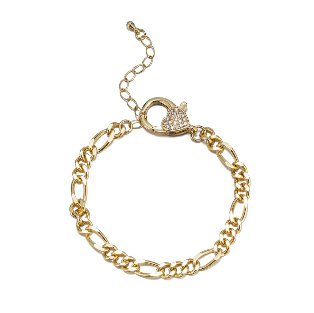Stainless Steel Figaro Chain Bracelet with CZ Clasp