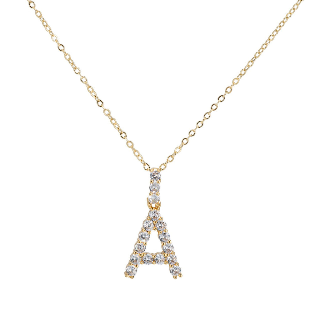 A Initial Gold Plated Necklace with CZ