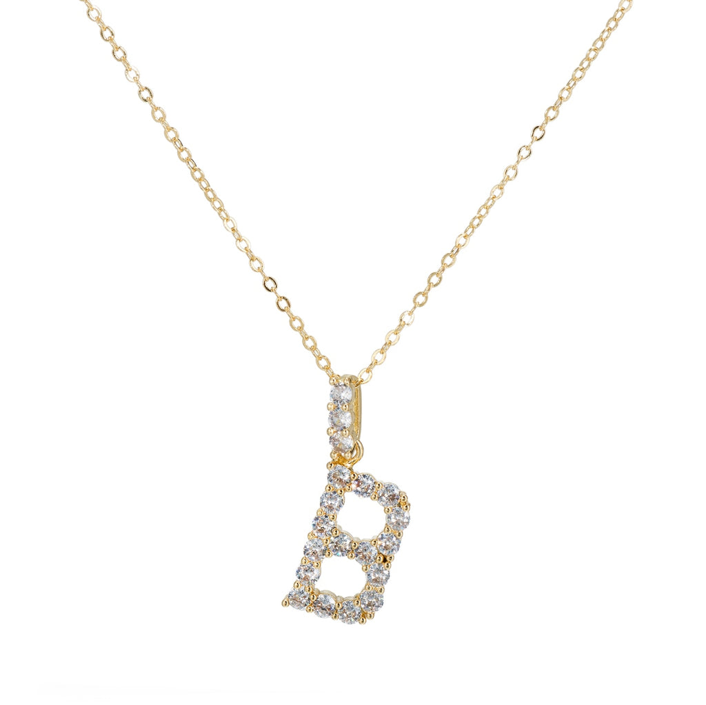 B Initial Gold Plated Necklace with CZ