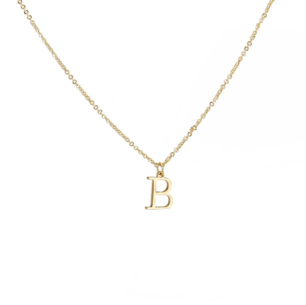 B Gold Plated Dangly Initial Necklace