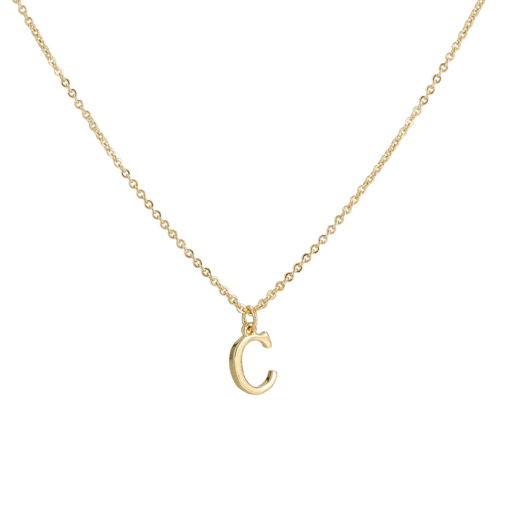 C Gold Plated Dangly Initial Necklace