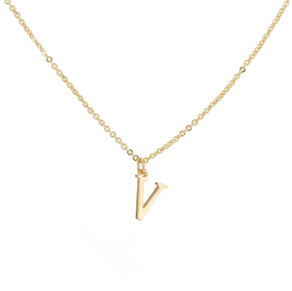V Gold Plated Dangly Initial Necklace