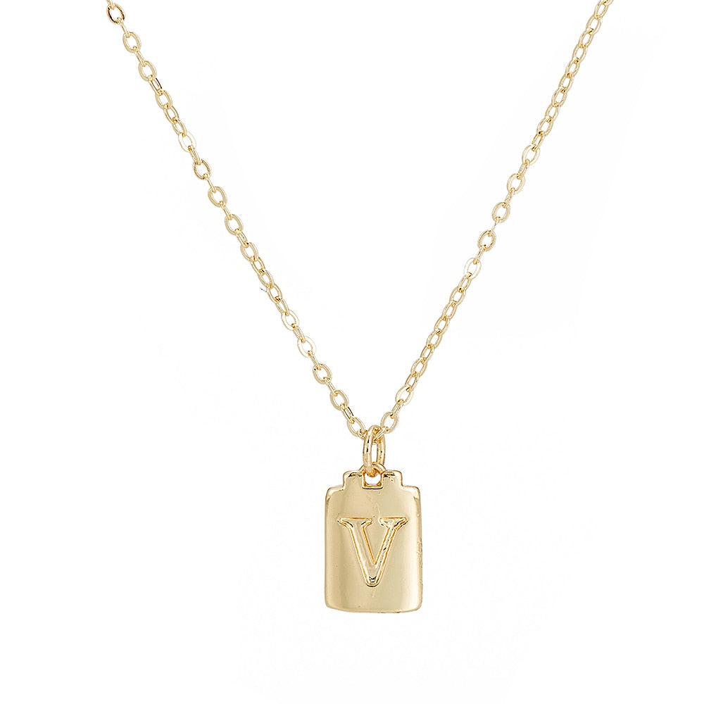 V Initial Plate Necklace