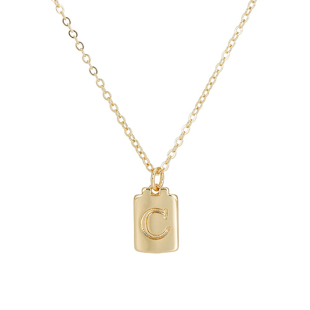 C Initial Plate Necklace