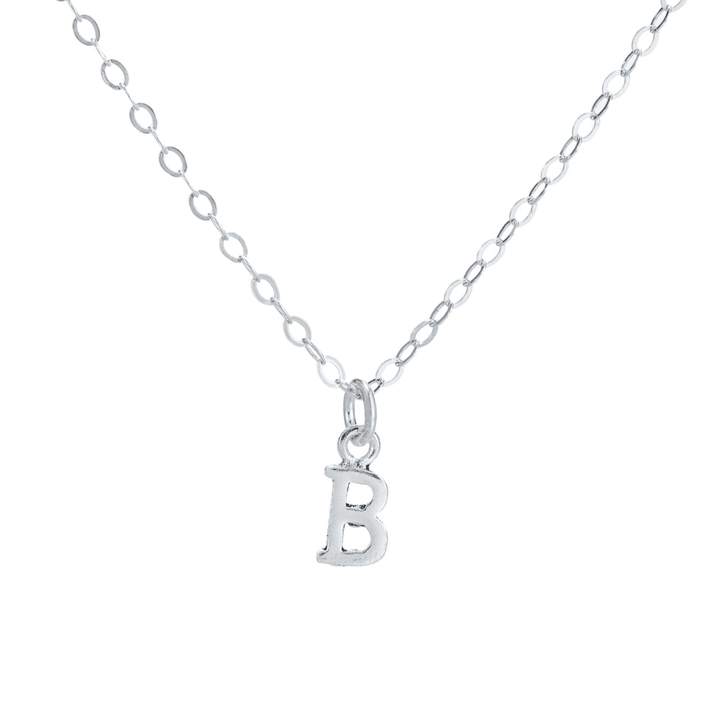 B Initial Sterling Silver Necklace