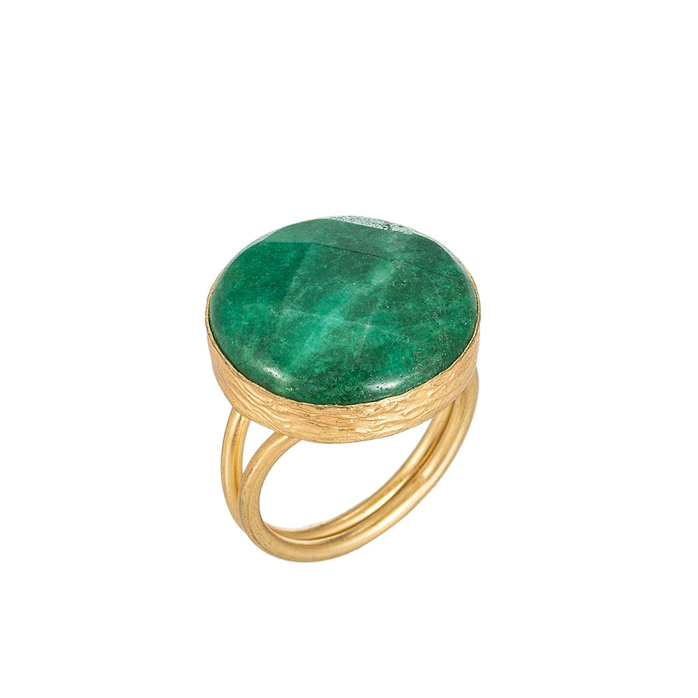 Aventurine Stone Gold Plated Ring