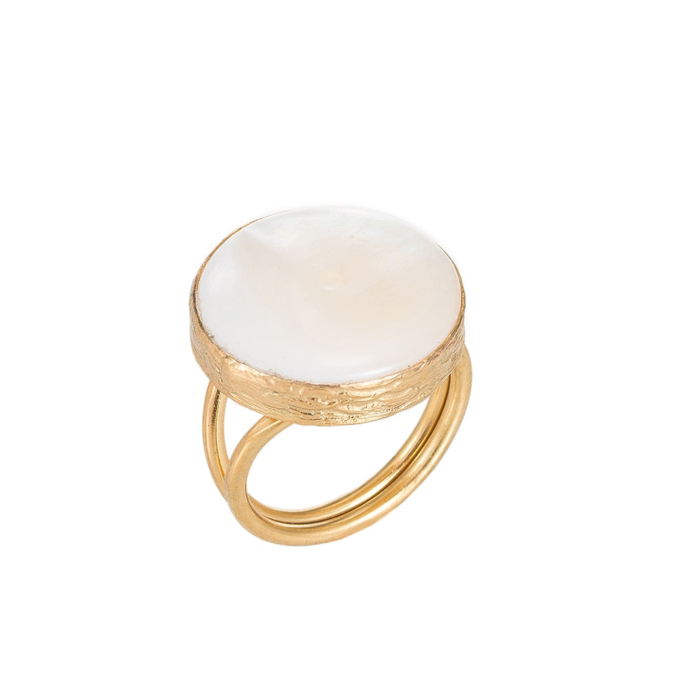 Moonstone Stone Gold Plated Ring