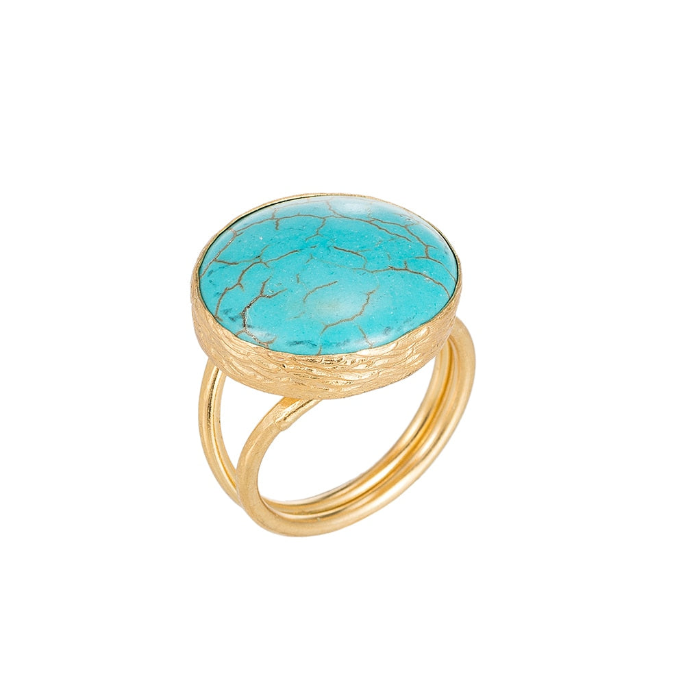 Tibetan Turquoise Stone Gold Plated Ring