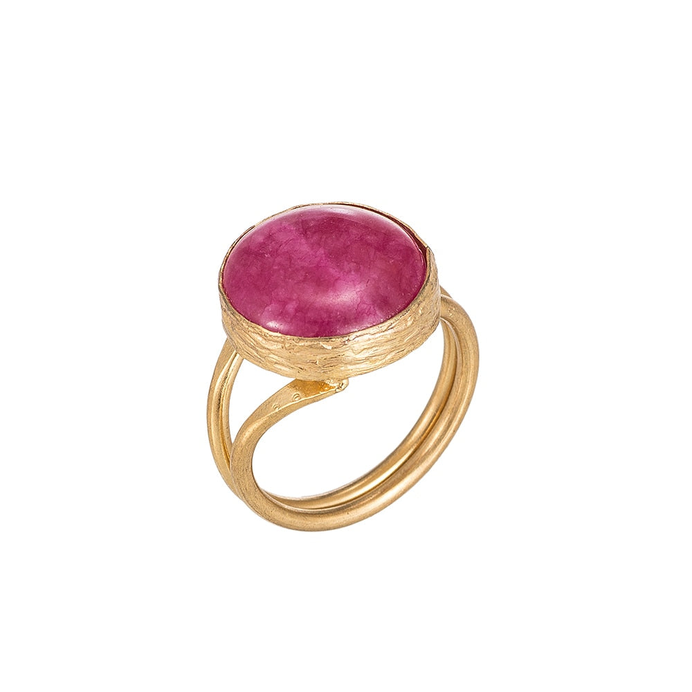 Pink Tourmaline Gold Plated Ring