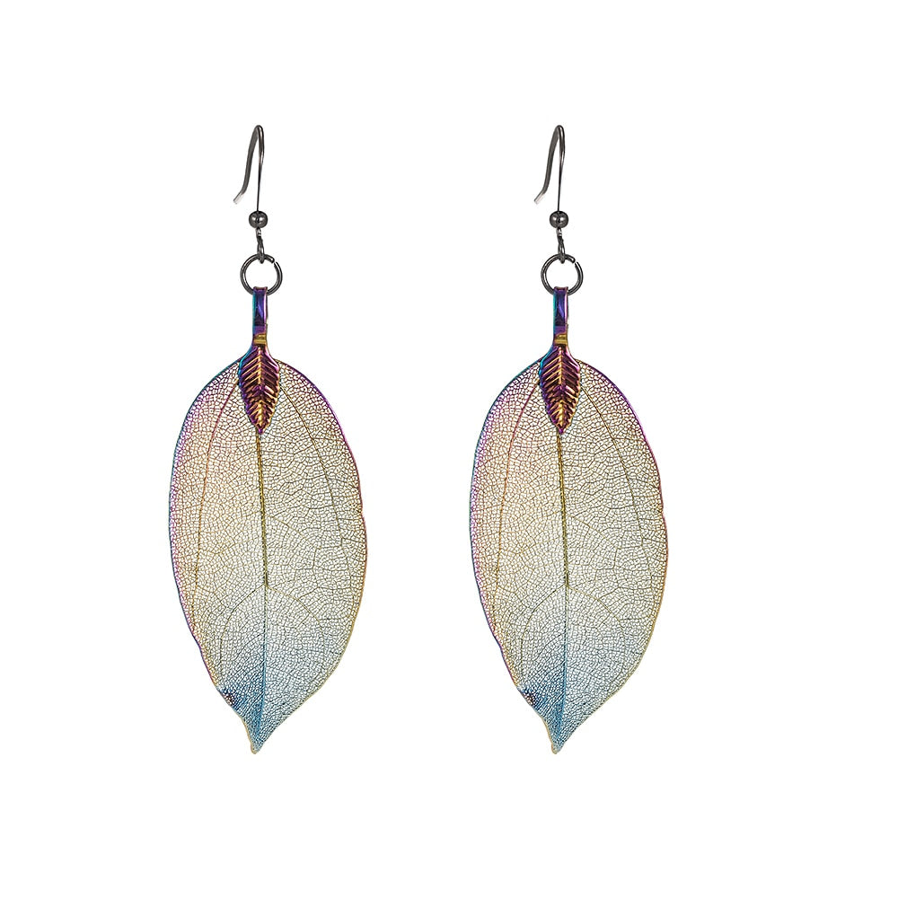 Rainbow Oxidized Real Leaf Earrings
