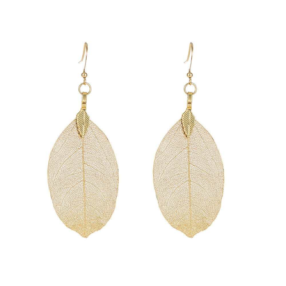 Gold Plated Real Leaf Earrings