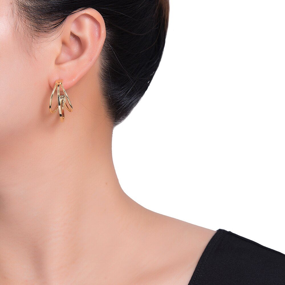 Merged Round Earrings in Gold Plated