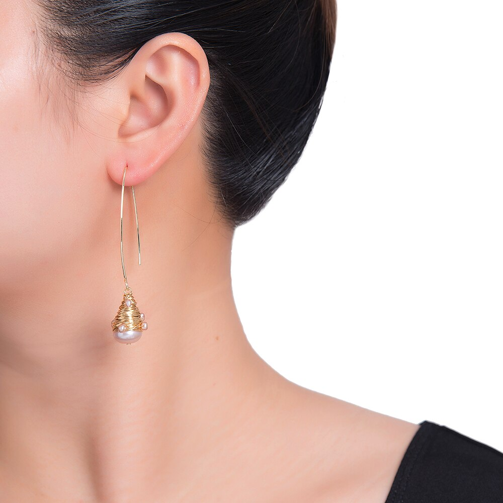 Teardrop Bulb Pearl Earrings in Gold Plated
