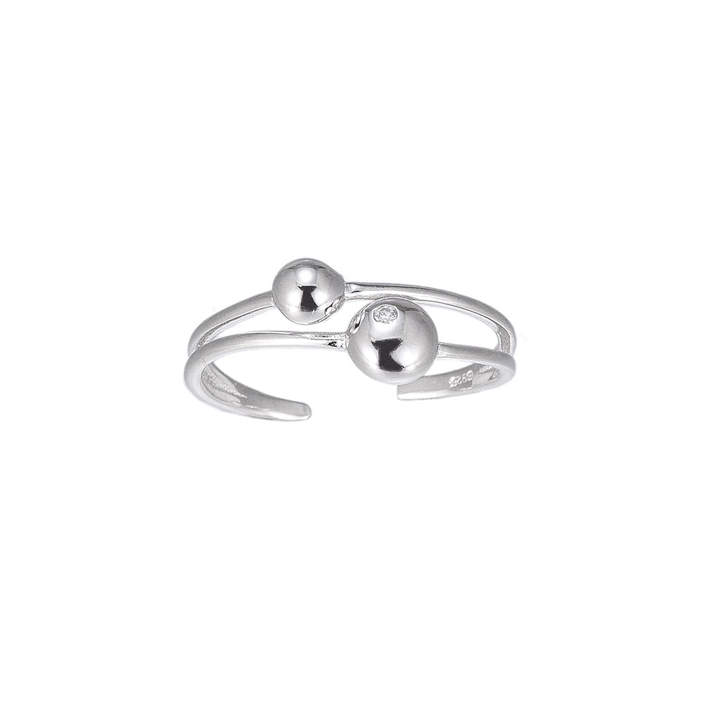 Adjustable Orbit Sterling Silver Ring with hand