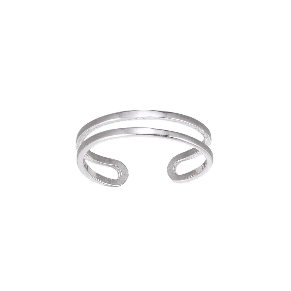 Adjustable Double Band Sterling Silver Ring
