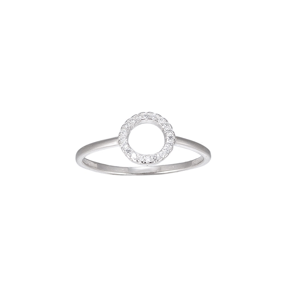 Circle Shaped CZ Sterling Silver Ring