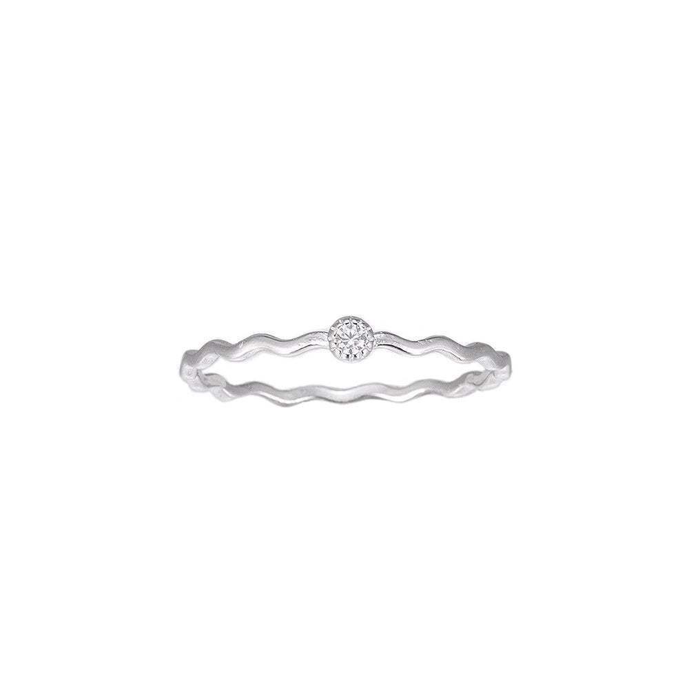 Wavy Single Stone Sterling Silver Ring