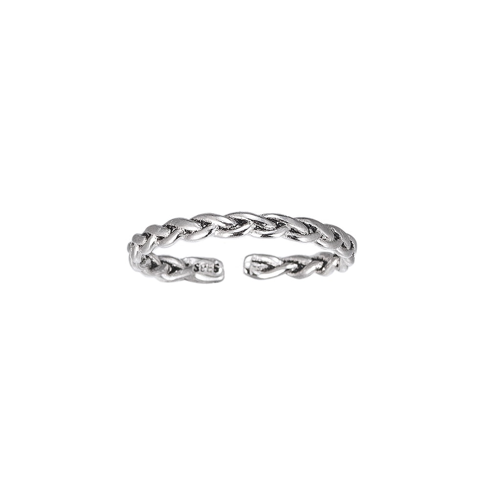 Adjustable Plain Band Sterling Silver Ring