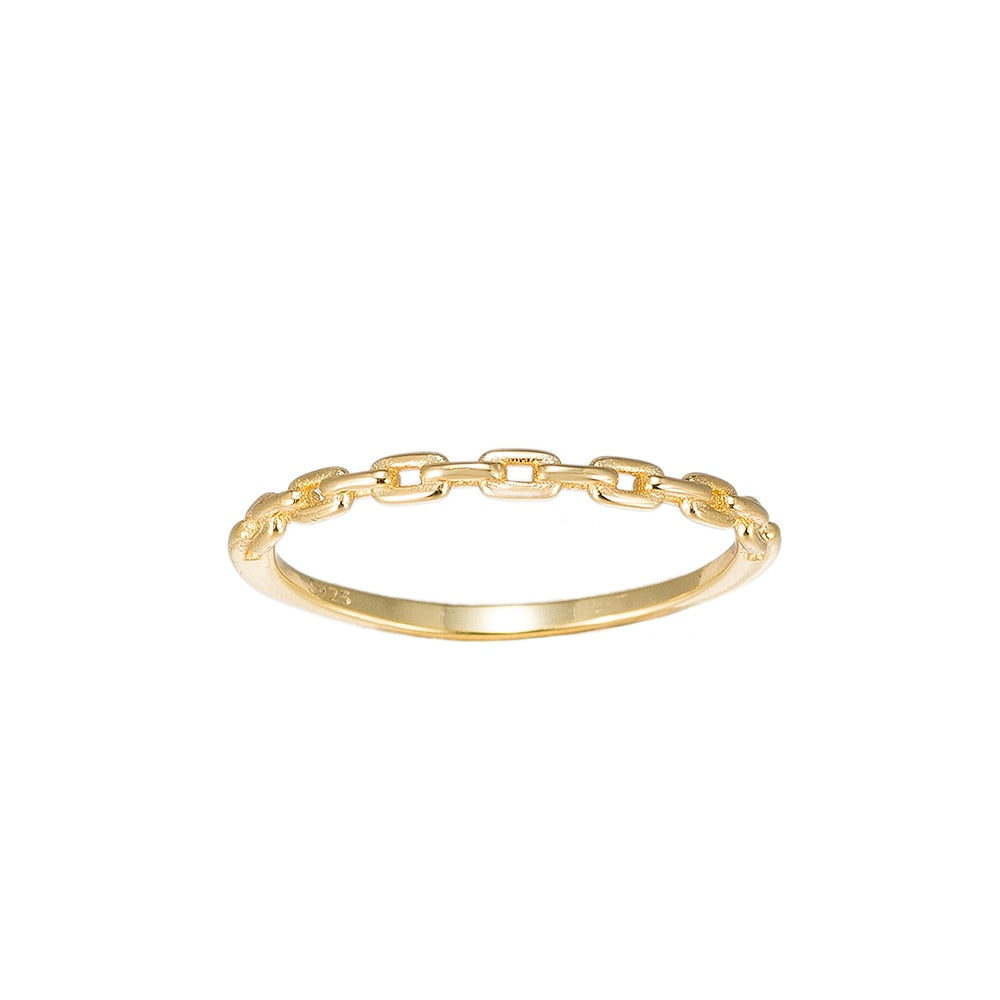 Gold Chain Sterling Silver Ring