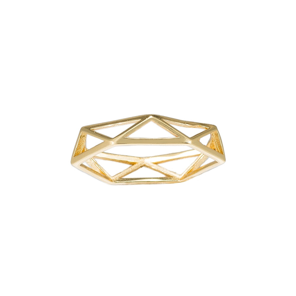 Gold Cage Sterling Silver Ring