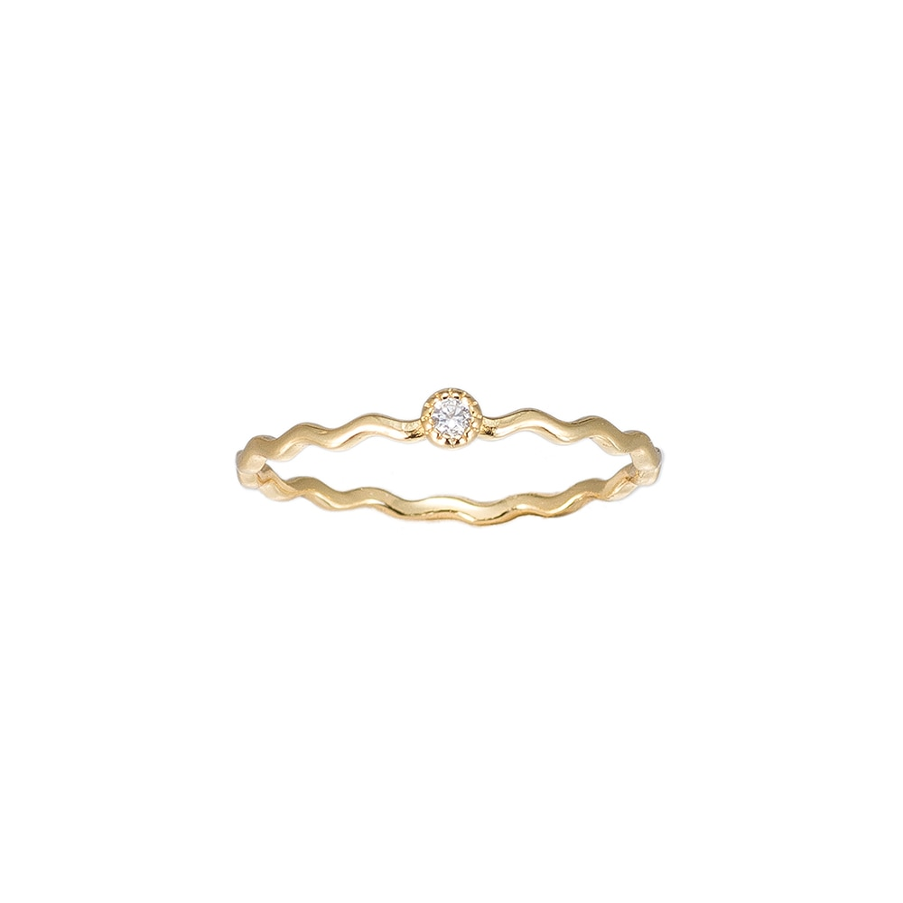 Gold Wavy Single Stone Sterling Silver Ring