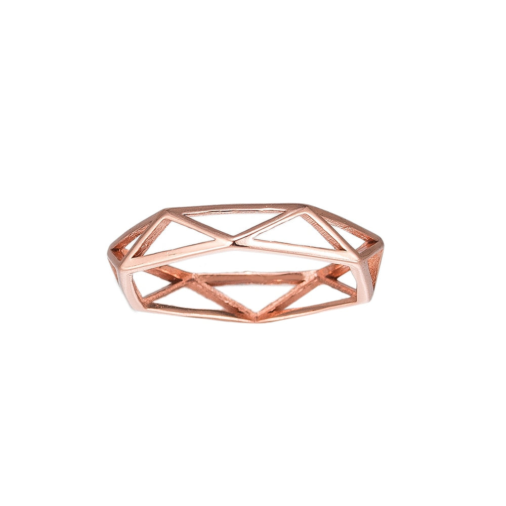 Rose Gold Cage Sterling Silver Ring