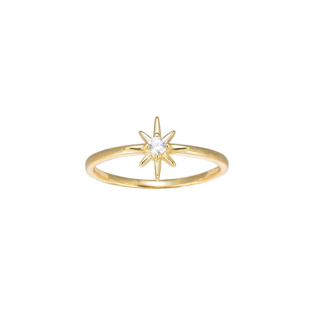 Gold North Star Sterling Silver Ring