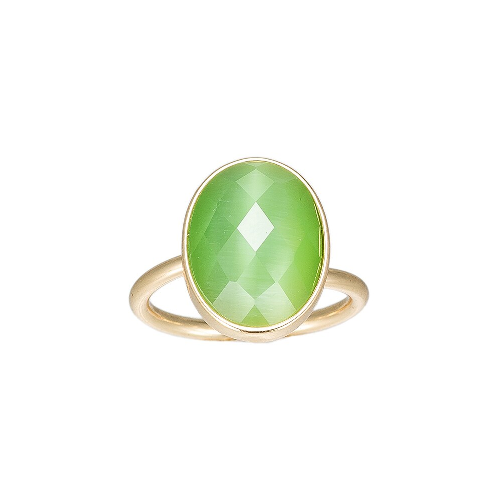 Green Single Stone Handmade Gold Plated Ring