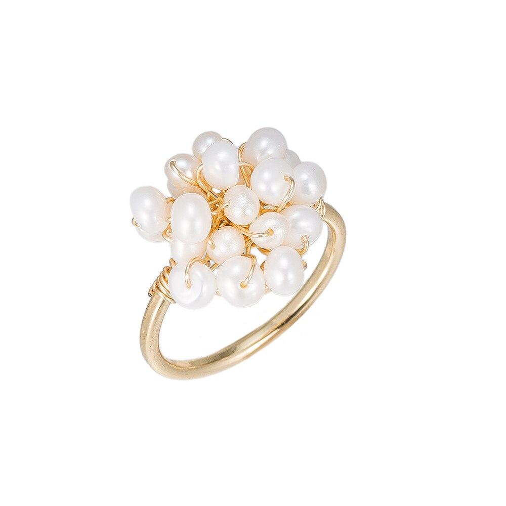 Pearl Bucket Gold Plated Ring