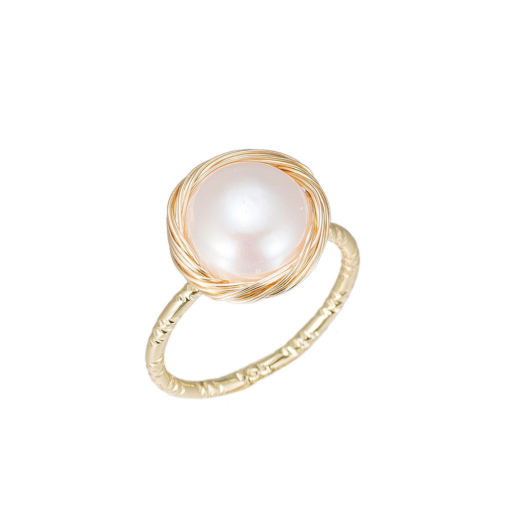 Power Pearl Gold Plated Ring