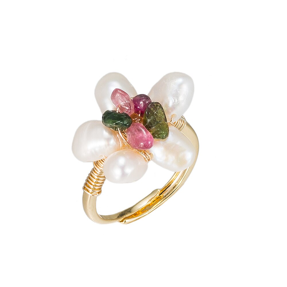 Flower Shaped Pearl Gold Plated Ring - Gold Ring