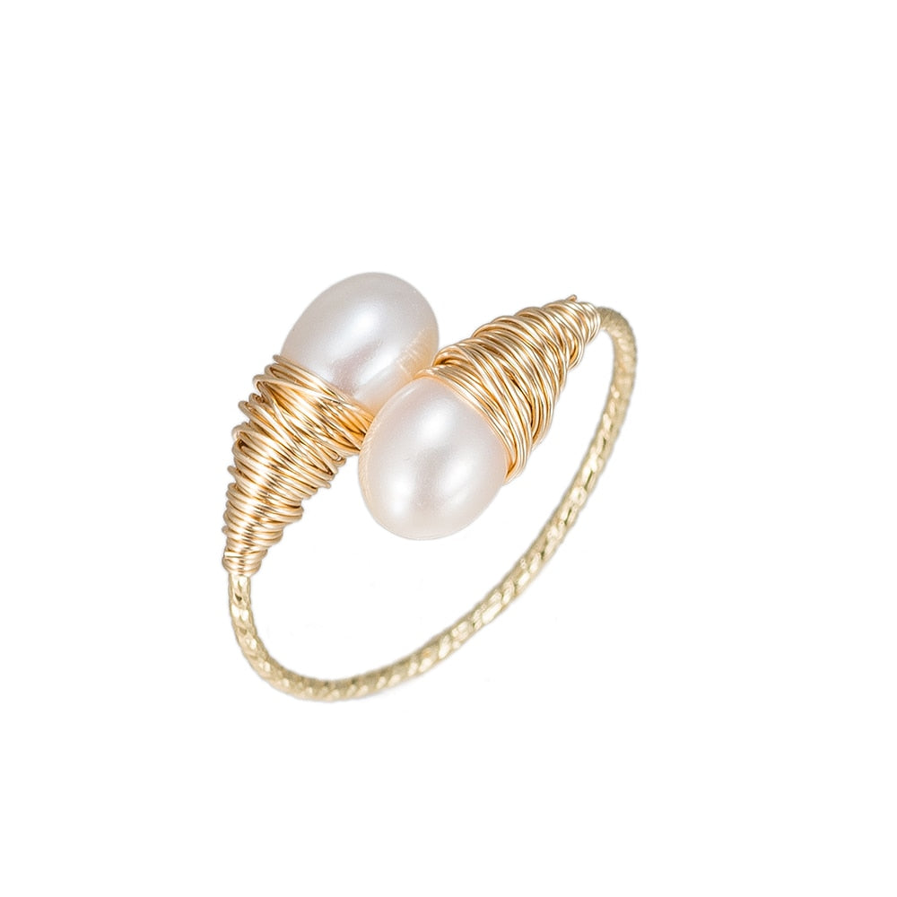 Bulb Shaped Pearl Gold Plated Ring