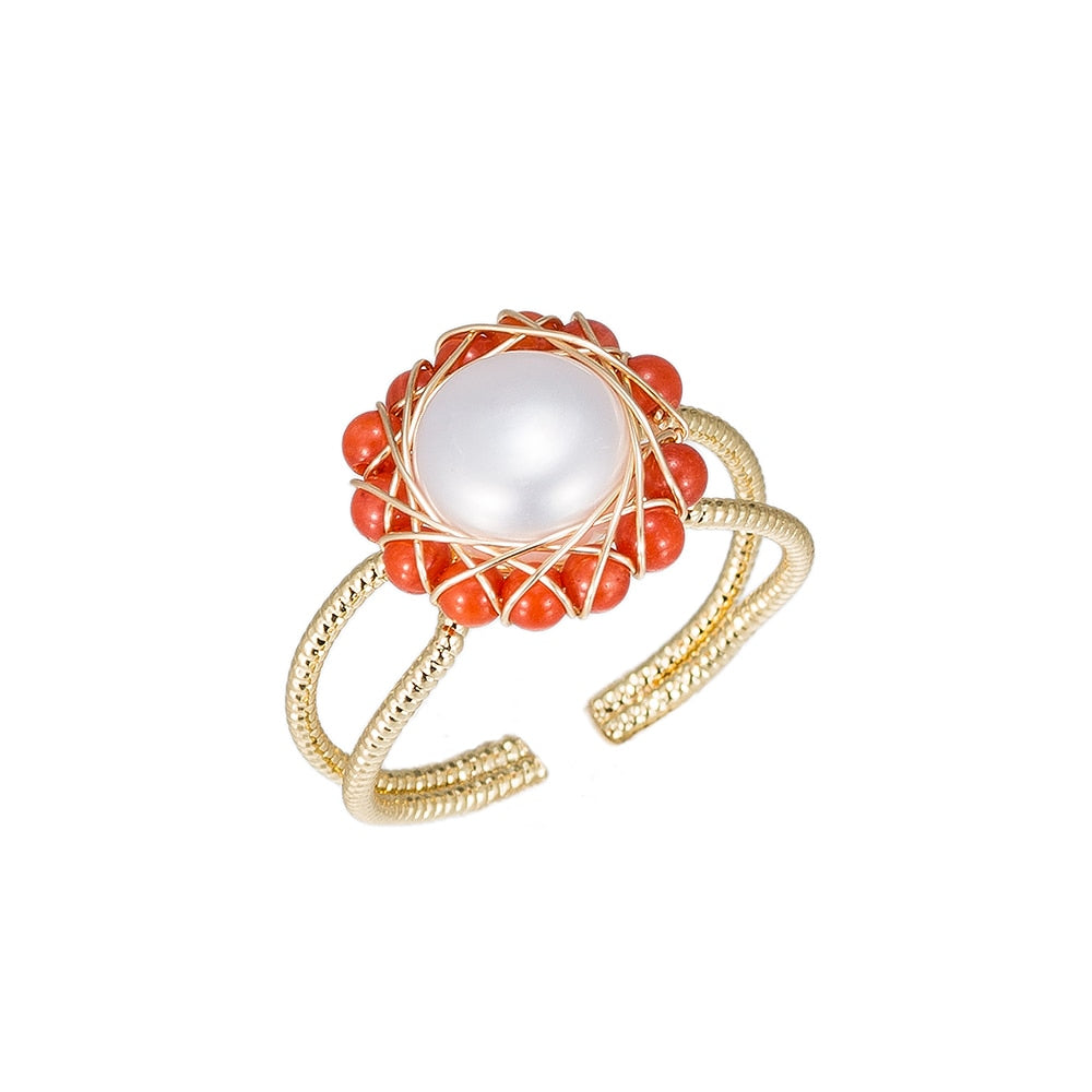 Pearl with Red Stone Gold Plated Ring