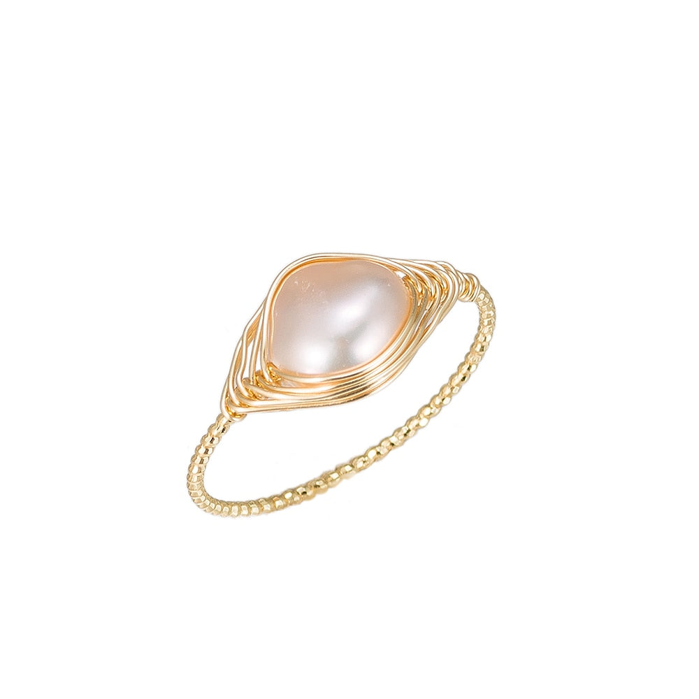 Ellipse Shape Pearl Gold Plated Ring
