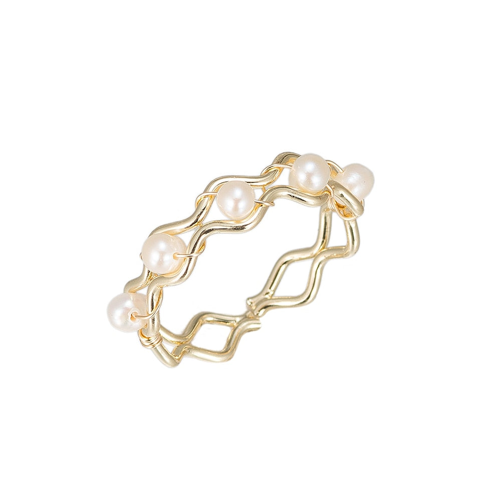 Curvy Pearls Gold Plated Ring