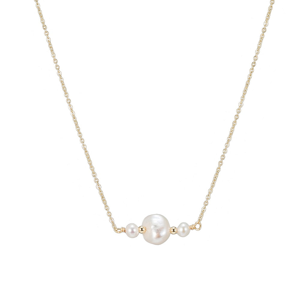 Triple Pearl Necklace in Gold Plated