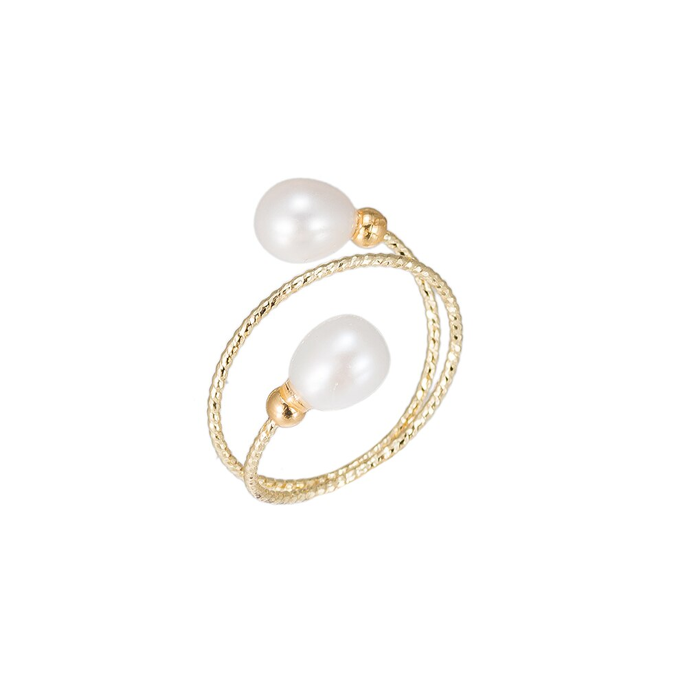 Spiral Double Pearl Gold Plated Ring